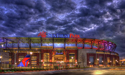 Baseball Royalty-Free and Rights-Managed Images - SunTrust Park Unfinished Atlanta Braves Baseball Art by Reid Callaway