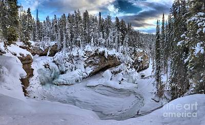 Photograph - Sunwapta Falls Frozen Panorama by Adam Jewell