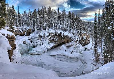 Photograph - Sunwapta Falls Frozen Sunset by Adam Jewell