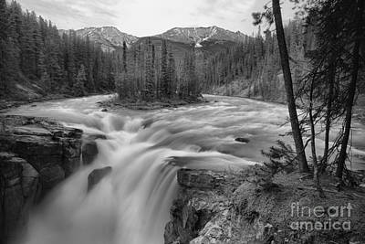 Photograph - Sunwapta Falls Sprig Gusher Black And White by Adam Jewell
