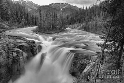 Photograph - Sunwapta Falls Spring Landscape Black And White by Adam Jewell