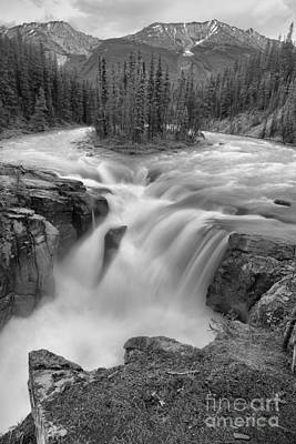 Photograph - Sunwapta Falls Spring Portrait Black And White by Adam Jewell