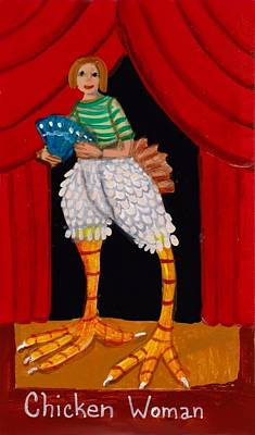 Painting - Super Amazing Chicken Woman by JoLynn Potocki