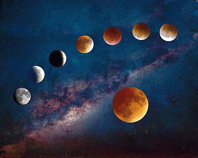 Super Blood Moon Eclipse Watercolor Art Print