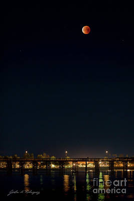 Photograph - Super Blood Moon Over Ventura, California Pier by John A Rodriguez