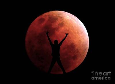 Photograph - Super Blue Blood Eclipse Lunar Moon With A Person by Christopher Shellhammer