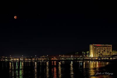 Photograph - Super Blue Blood Moon Over Ventura, California Pier  by John A Rodriguez