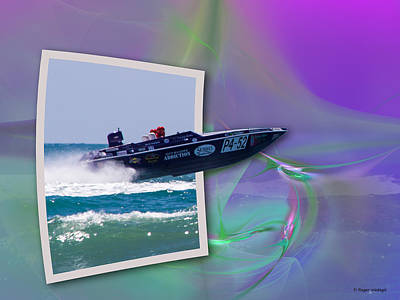 Super Boat Speeds Out Of Frame Art Print by Roger Wedegis