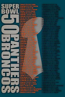 Super Bowl 50 Broncos Panthers Roster 2 Art Print by Joe Hamilton