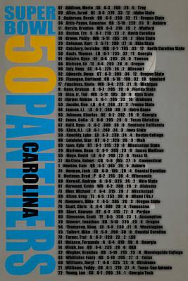 Super Bowl 50 Carolina Panthers Roster Art Print by Joe Hamilton