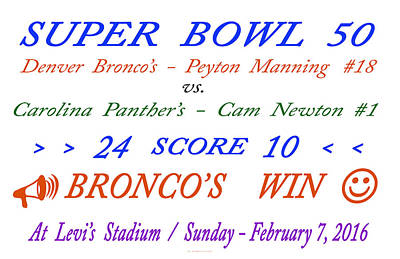 Super  Bowl  Fifty Art Print by Carl Deaville