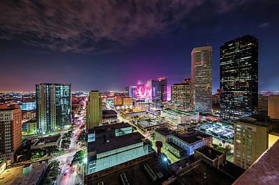 Photograph - Super Bowl Li Down Town Houston Fireworks by Micah Goff
