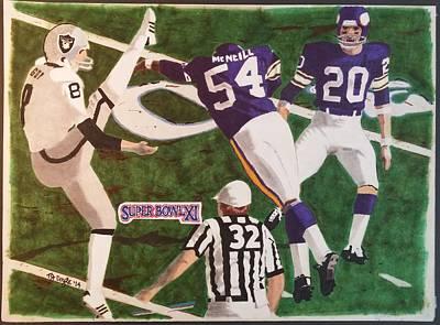Oakland Raiders Drawing - Raiders - Vikings Super Bowl Xl by TJ Doyle