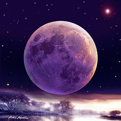 Digital Art - Super Cold Moon Over December by Robin Moline