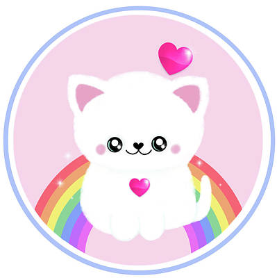 Eighties Drawing - Super Cute Retro Rainbow Sparkle Kitty by Little Bunny Sunshine