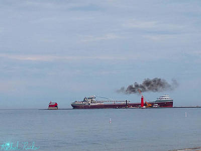 Photograph - Super Freighter Grand Haven Lighthouse by Michael Rucker