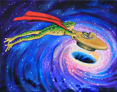 Painting - Super Frog Plugging A Black Hole by John Lautermilch