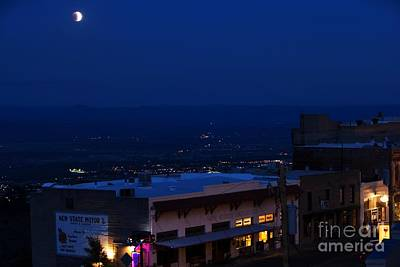 Art Print featuring the photograph Super Full Moon 1/2 Eclipse Over Jerome Az by Ron Chilston