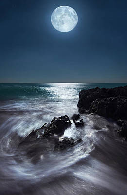 Photograph - Super Full Moon Over Hutchinson Island Beach Florida by Justin Kelefas