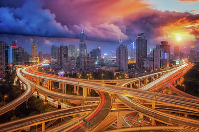 Express Way Photograph - Super Highway In Shanghai City by Anek Suwannaphoom