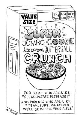 Junk Food Drawing - Super Jumbo Cookie Ice Cream Butterball Crunch by Olivia de Recat