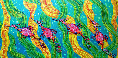 Sea Horse Painting - Super Late For Supper by Debbie Chamberlin