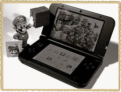 Super Mario Black And White Art Print