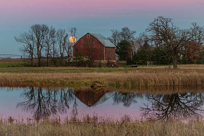 Photograph - Super Moon And Barn Series #1 by Patti Deters