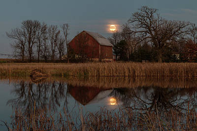 Photograph - Super Moon And Barn Series #2 by Patti Deters