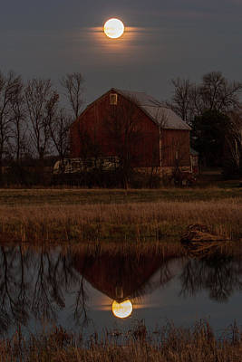 Photograph - Super Moon And Barn Series #3 by Patti Deters