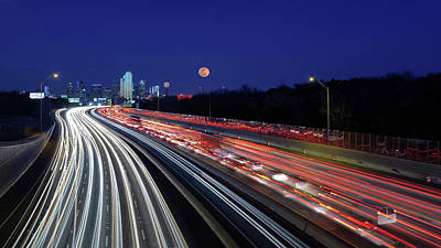 Robert Bellomy Royalty-Free and Rights-Managed Images - Super Moon and Dallas Texas Skyline by Robert Bellomy