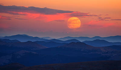Supermoon Photograph - Super Moon At Sunrise by Darren White
