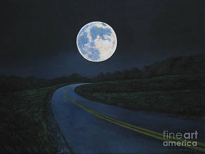 Super Moon At The End Of The Road Art Print