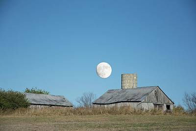Photograph - Super Moon Barn by Randall Branham