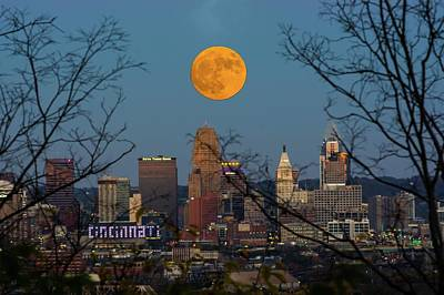Photograph - Super Moon City Thru The Trees by Randall Branham