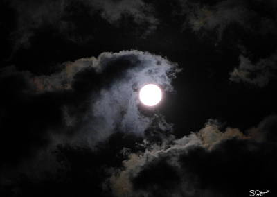 Nature Photograph - Super Moon Held In The Arc Of Clouds by Abstract Angel Artist Stephen K