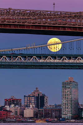 Photograph - Super Moon, Manhattan And Brooklyn Bridges Nyc by Susan Candelario