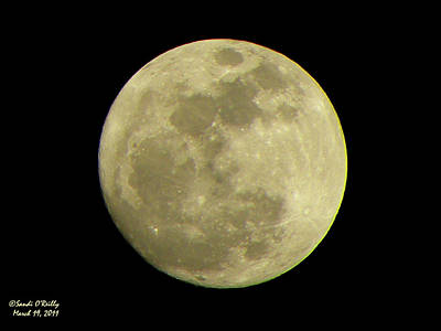 Man In The Moon Photograph - Super Moon March 19 2011 by Sandi OReilly