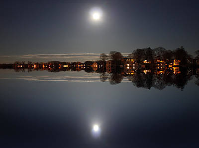 Reflective Surfaces Photograph - super moon night   Connecticut  by Mark Ashkenazi