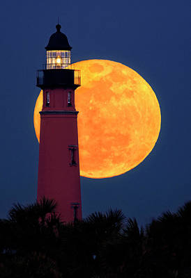 Photograph - Super Moon Of The Century Over Ponce Inlet Lighthouse by Justin Kelefas