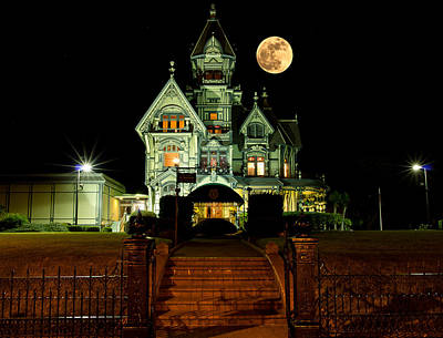 Super Moon Over Carson Mansion Art Print