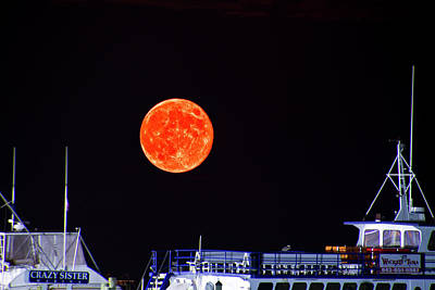 Art Print featuring the photograph Super Moon Over Crazy Sister Marina by Bill Barber