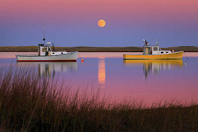 Super Moon Over Nauset Beach Cape Cod National Seashore Art Print