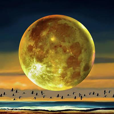 Digital Art - Super Moon Over November by Robin Moline
