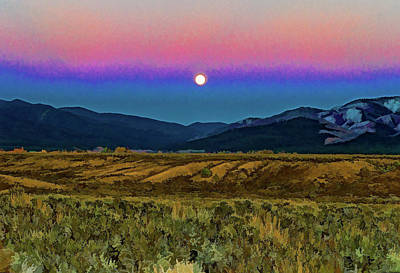 Photograph - Super Moon Over Taos by Charles Muhle
