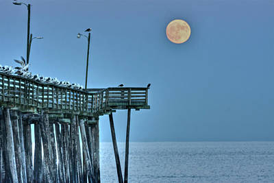 Photograph - Super Moon Over Virginia Beach by Don Mercer