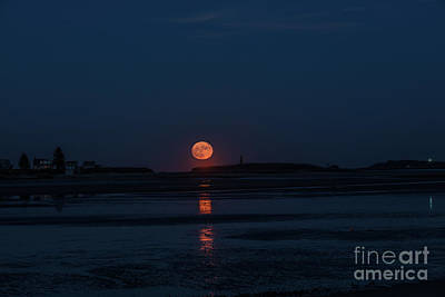 Photograph - Super Moon Rising Over Hills Beach ,biddeford Maine by David Bishop