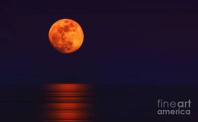 Photograph - Super Moon Rising Over Water by Charline Xia