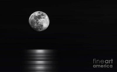 Photograph - Super Moon Rising Over Water Mono by Charline Xia