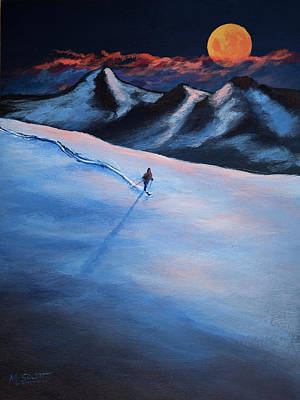 Ski Painting - Super Moon Winter Adventure 13 by Michael Scott